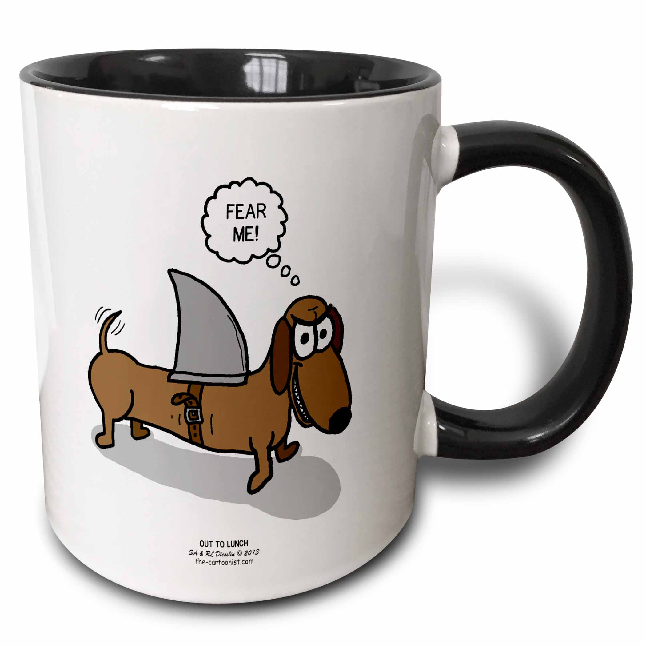 3dRose Weiner Dog with a Sharks Fin - Two Tone Black Mug, 11-ounce