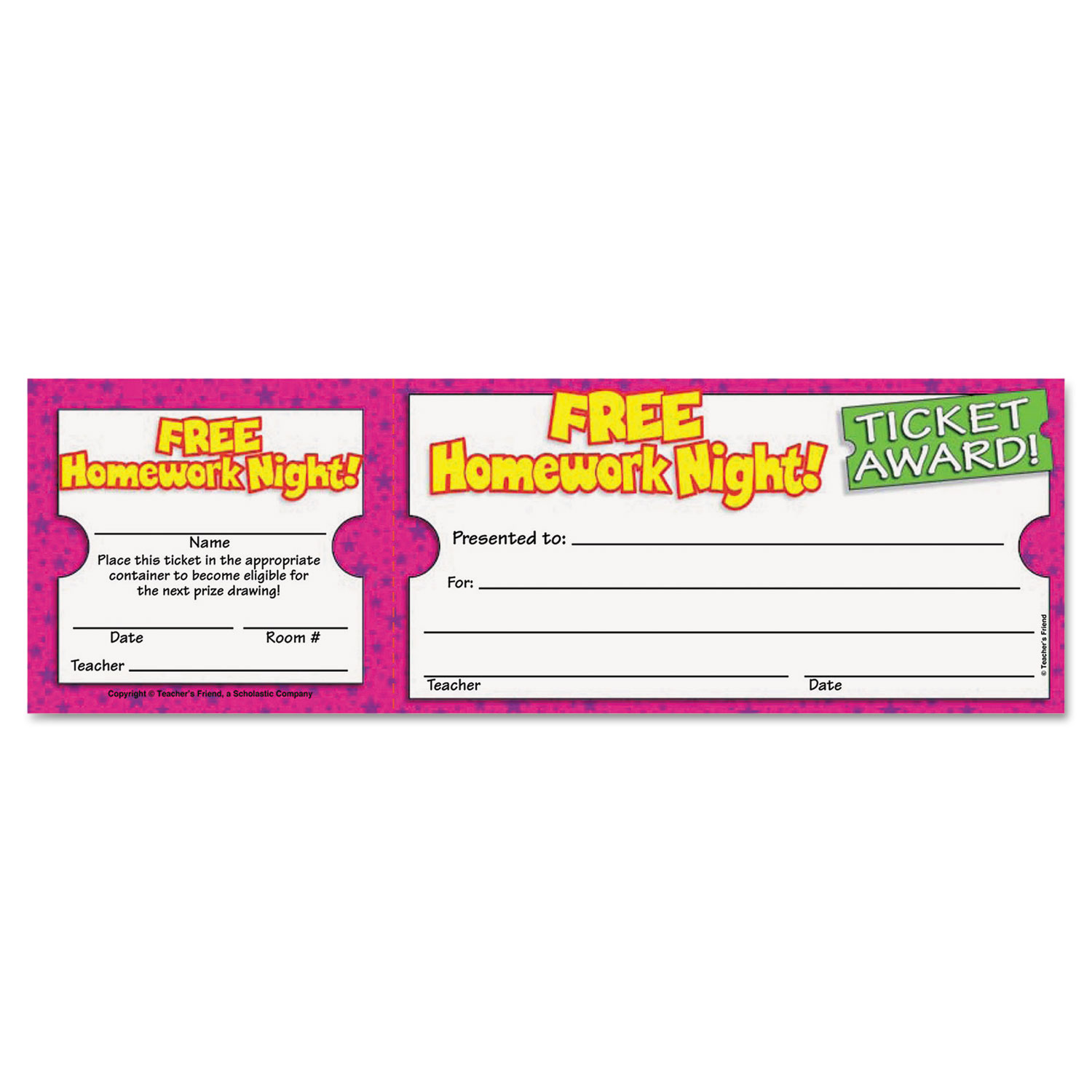 Free Homework Night Award Ticket, 8 1 2w x 2 3 4h, 100 2-Part Tickets Pack by Scholastic