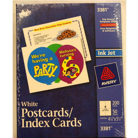 Avery Postcards Index Cards White 200 Pack Walmart
