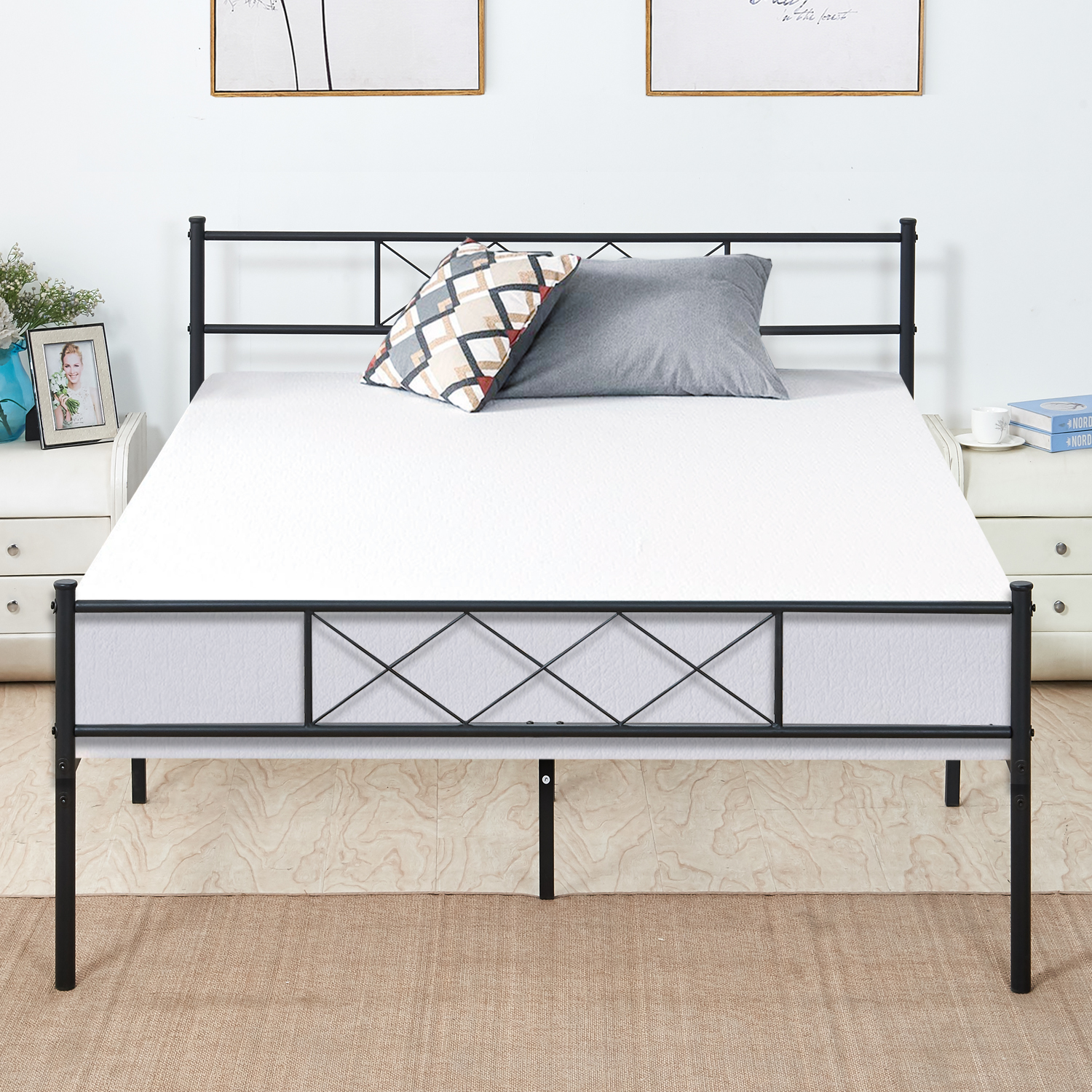 new style 24600 0a607 Queen Size Platform Bed Frame Fluted Design Fix Mattress,Optional for Box  Spring Need,with Storage Space,Headboard Footboard,Slats Support,