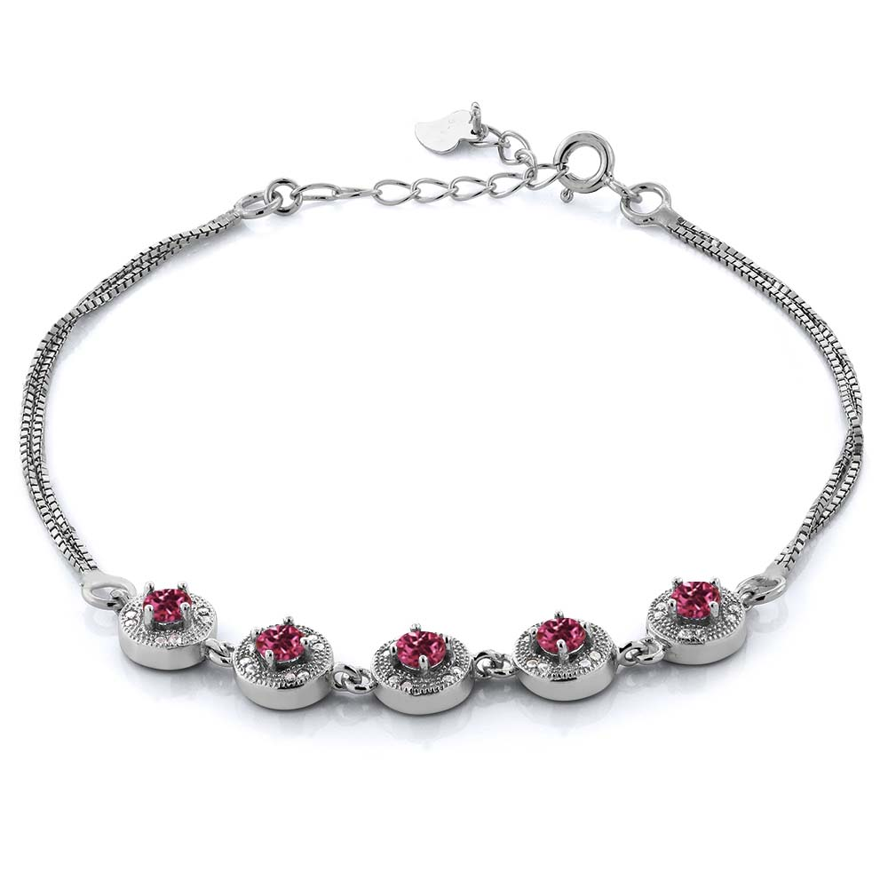 1.95 Ct Round Pink Tourmaline 925 Sterling Silver Bracelet by