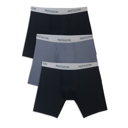 Fruit of the Loom Men's EverLight Black and Gray Boxer Briefs, 3 Pack