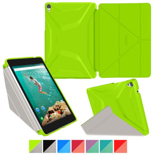 roocase Google Nexus 9 Case - Origami 3D Nexus 9 8.9 inch Slim Shell Folio Case Smart Cover with Auto Sleep/Wake for Google Nexus 9 Tablet (8.9-inch), Electric Green / Cool Gray
