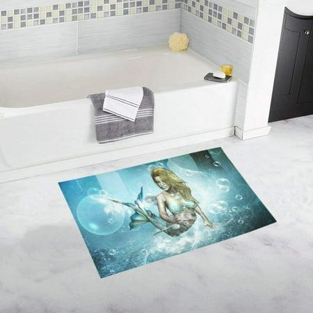 CADecor Beautiful mermaid Non-Slip Bath Rug Bath Mat Rug Doormat 30x18