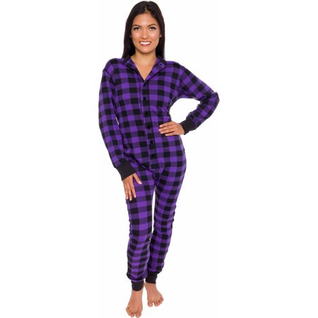 Cute Adult Pajamas (Silver Lilly Unisex Adult Plaid Thermal One Piece Union Suit Pajamas w/ Drop)