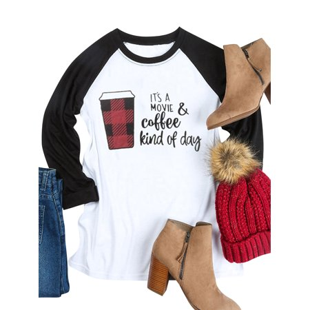 711ONLINESTORE Women IT'S A MOVIE & coffee kind of day Round Neck Long Sleeve Shirt](Coffee Sleeves)