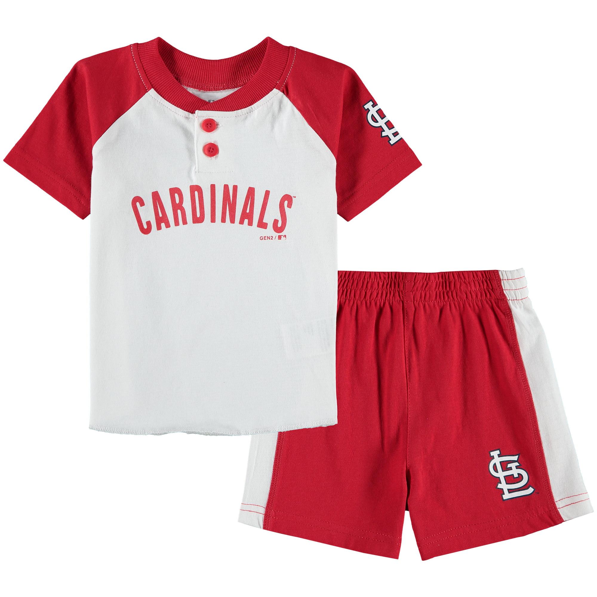 St. Louis Cardinals Infant Good Hit Henley T-shirt & Shorts Set - White/Red