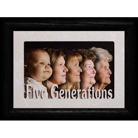 Five Generations ~ Landscape Cream Mat & Picture Frame ~ Holds A 4X6 Or A Cropped 5X7 Photo (Black) ()