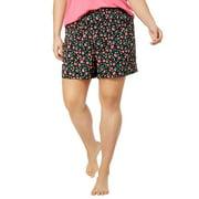 Jenni by Jennifer Moore Woven Printed Boxer Shorts Multi Floral Black S