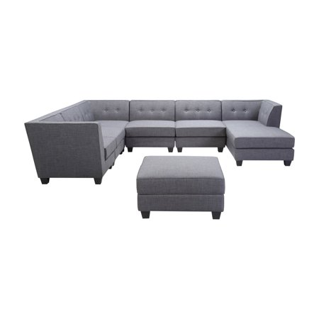 timeless design c0388 2d29a Best Master Furniture Vendome 7 Piece Modular Fabric Sectional Sofa with  Chaise