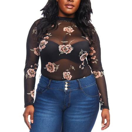 1fb11950675 Genx - Womens Plus Size Long Sleeve Floral Print Pattern Mesh Bodysuit  B2078P - Walmart.com