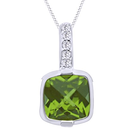 Cushion Cut Simulated Green Peridot With Natural Diamond Solitaire Pendant Necklace In 14K Solid White Gold By Jewel Zone
