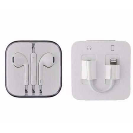 59175b8d5a7 Apple iPhone A1749 Lightning to 3.5mm MMX62AM/A & Apple Earpod Headset  MD827LL/A - Walmart.com