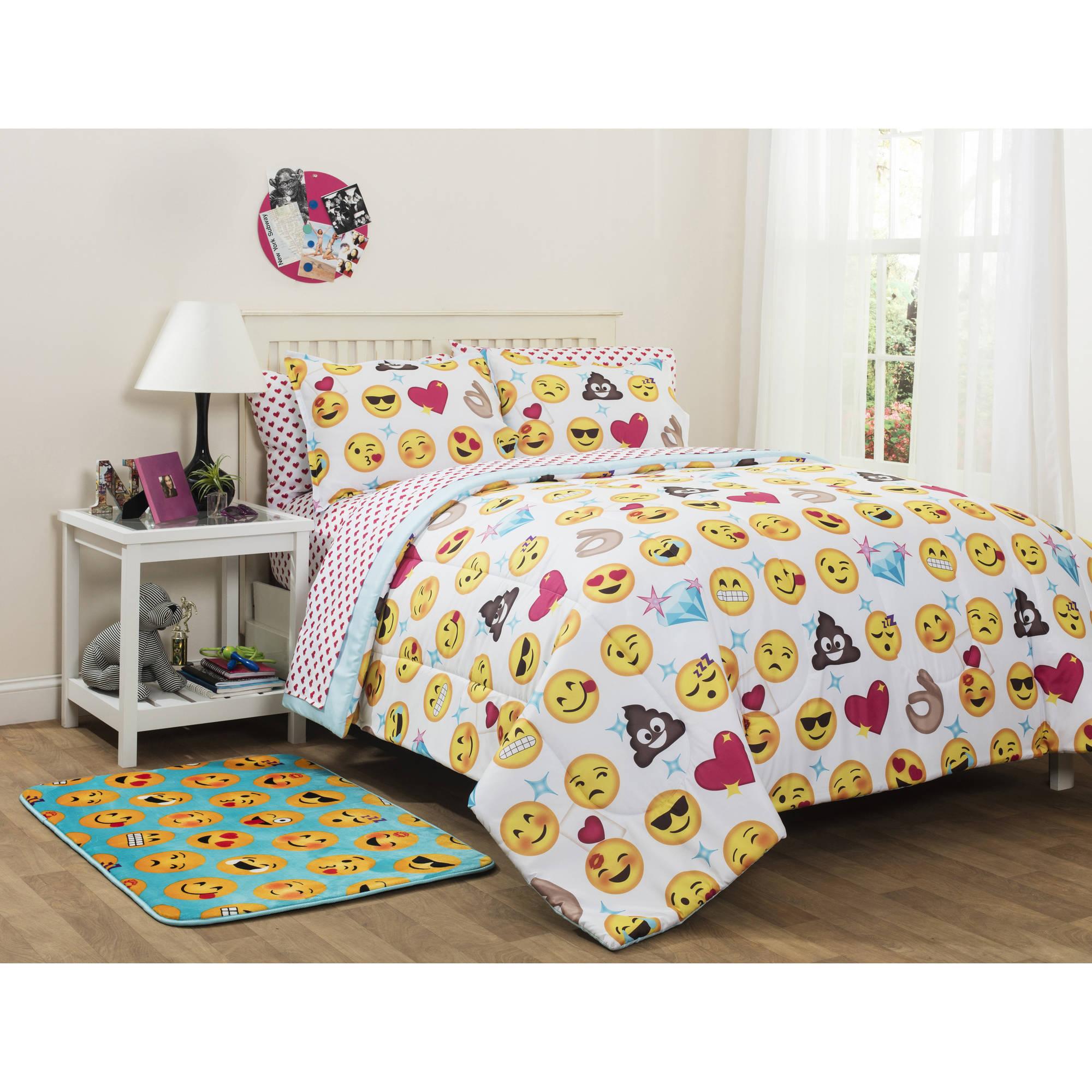 Emoji Reversible Bedding Set Twin Xl Bed In A Bag Kids Room Bedroom Decor