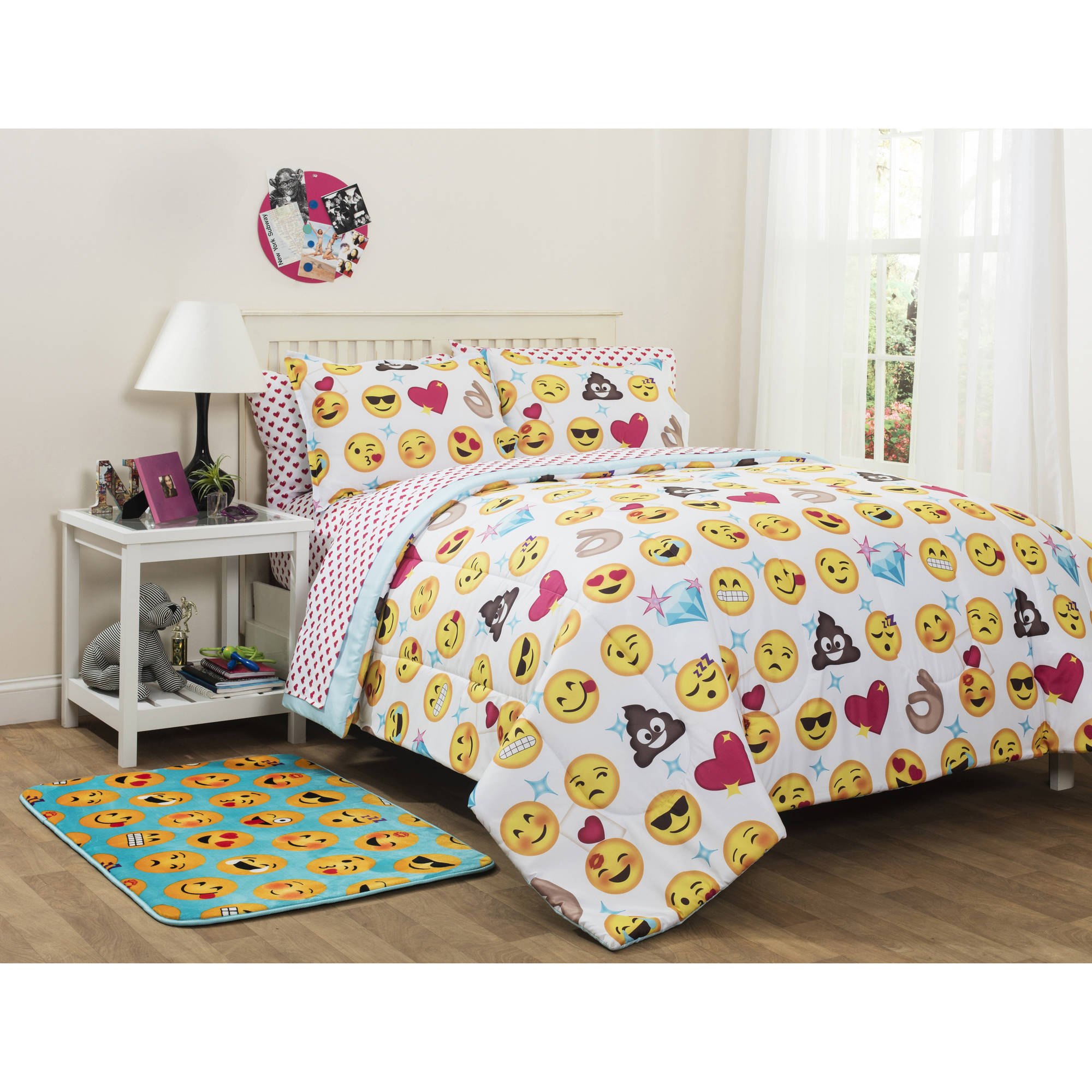 Emoji Reversible Bedding Set Twin/Twin XL Bed In A Bag Kids Room Bedroom  Decor