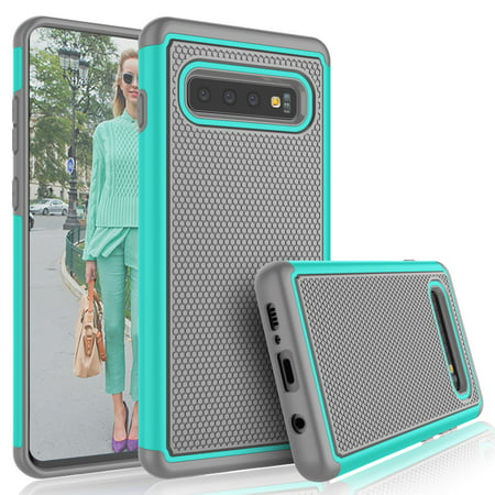 Him Solid Case (Galaxy S10e Case, Samsung Galaxy S10e Cute Case, Tekcoo [Tmajor] Shock Absorbing [Turquoise] Hybrid Rubber Silicone & Plastic Scratch Resistant Rugged Solid Bumper Grip Sturdy Hard Case)