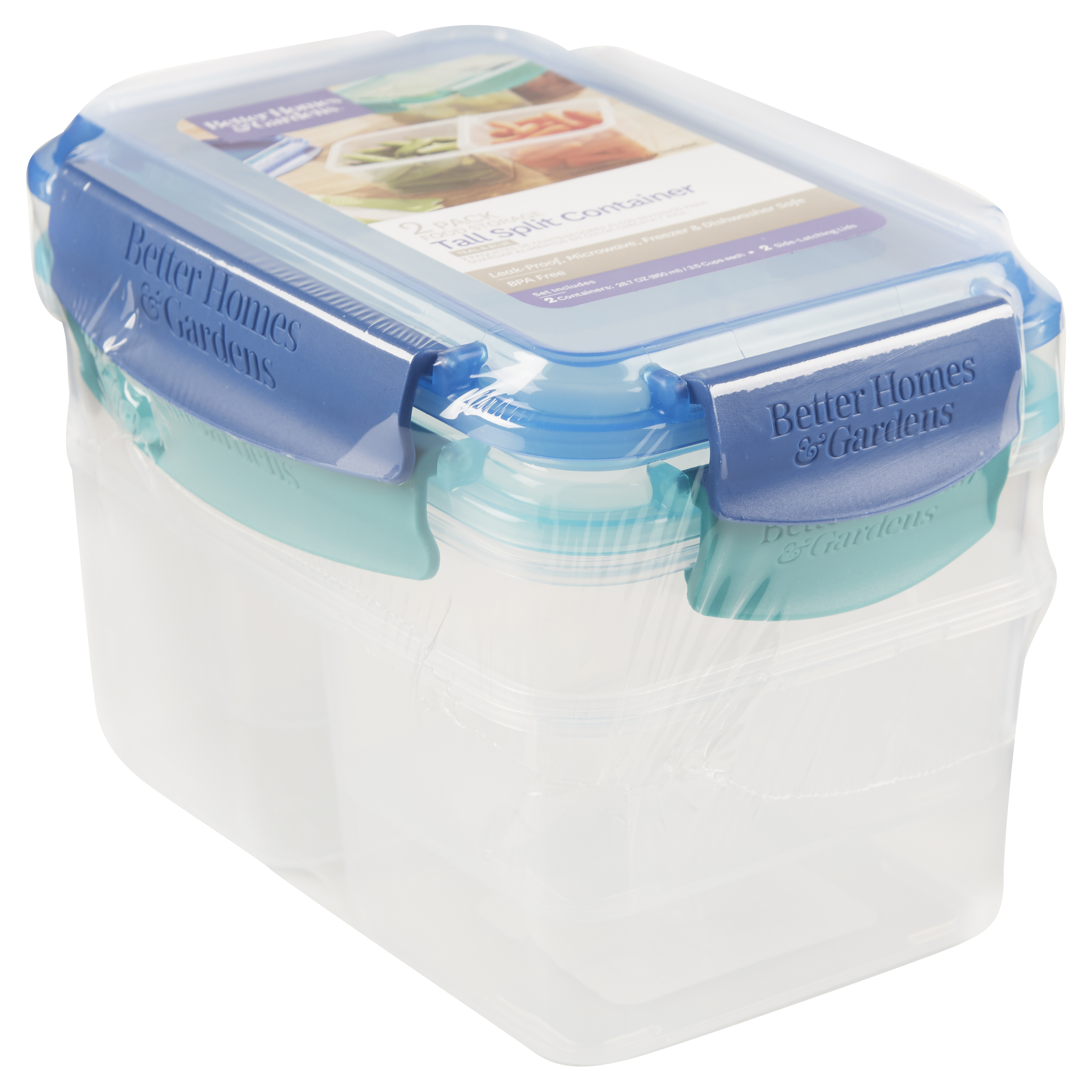 Better Homes & Gardens Food Storage Tall Split Containers, Set of 2