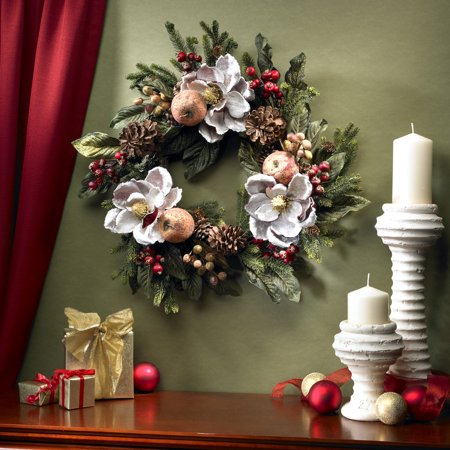 Imperial Pinecone - Nearly Natural 24 in. Magnolia Pinecone & Berry Wreath
