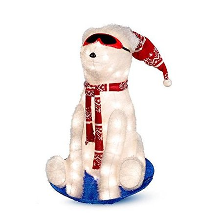 sledding polar bear lighted outdoor christmas decoration 26 h