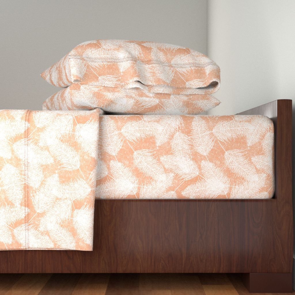 Worn Faded Distressed Peach Orange 100% Cotton Sateen Sheet Set by Roostery