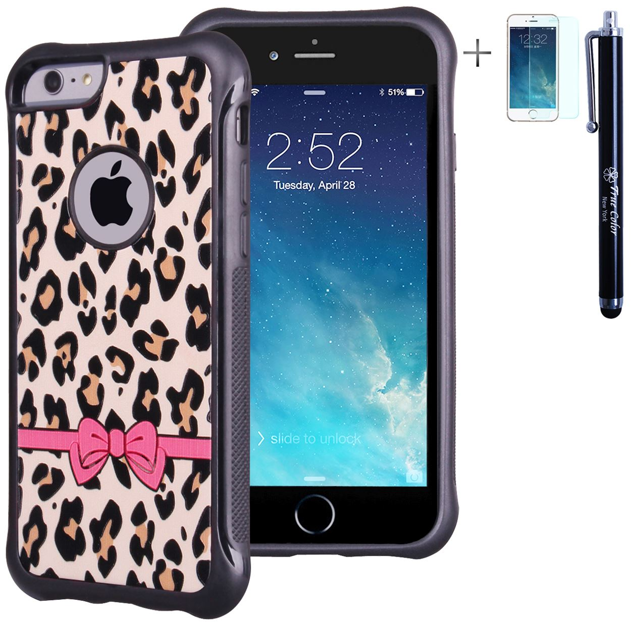 "iPhone 6 6s Plus 5.5"" Case, True Color® Pink Bow on Leopard Emboss Printed Impact Resistant TPU Protective Anti-slip Grip Snap-On Soft Rugged Cover for iPhone 6 Plus + FREE Stylus and Screen Protector"