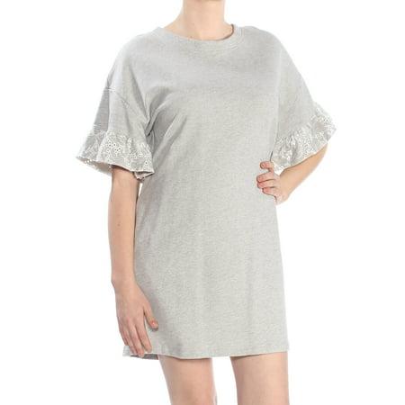 SANCTUARY Womens Gray Cut Out  Eyelet Sweater Short Sleeve Jewel Neck Knee Length Shift Dress  Size: