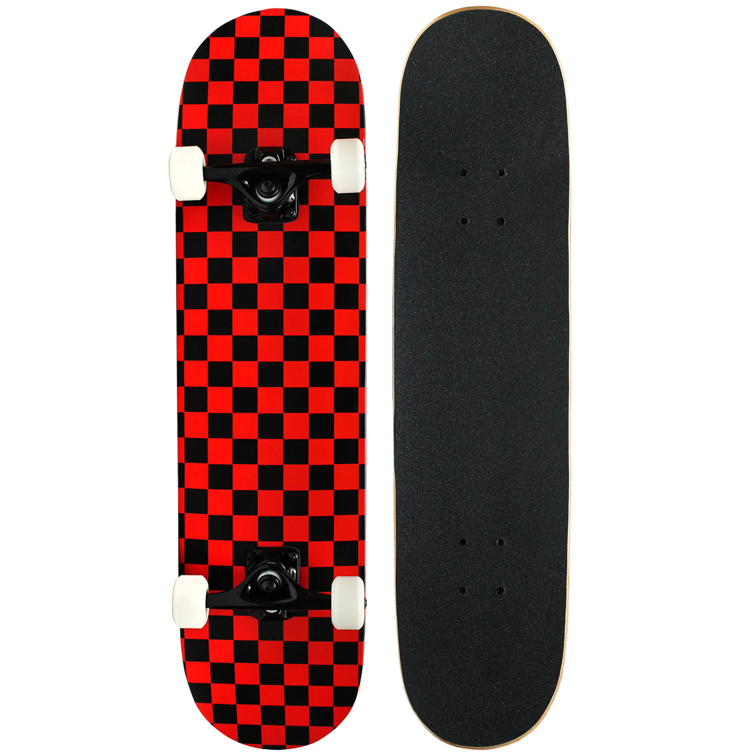 PRO Skateboard Complete Pre-Built CHECKER PATTERN 7.5 in Black Red by