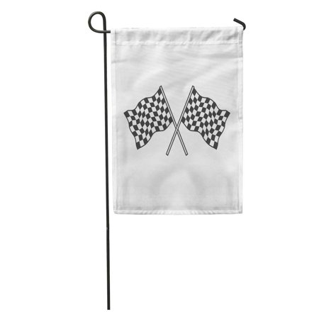 LADDKE Finish Checkered Flags Racing Race Win Auto Begin Black Car Garden Flag Decorative Flag House Banner 12x18 inch - Racecar Flag