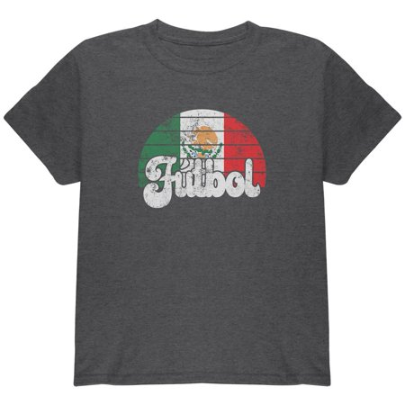 World Cup Mexico Futbol Football Soccer Youth T Shirt Dark Heather YLG Soccer Sport Futbol Old Shirt