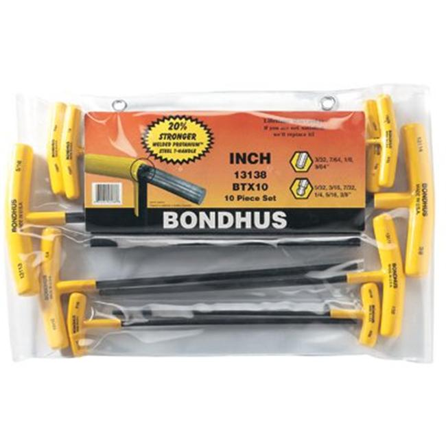 Bondhus 116-13138 Btx-10 10Pc. T-Wrench Hex Set Balldriver