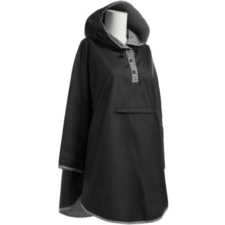 23e497bac Totes Isotoner Reversible Hooded Rain Poncho Waterproof Cape For Women With  Button Neckline - Choose your