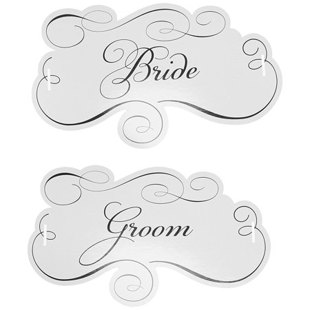 Pair of Bride and Groom Chair Signs, 12-Inch by 7-Inch, Accessory to enhance the reception, a time of celebration and joy By Lillian