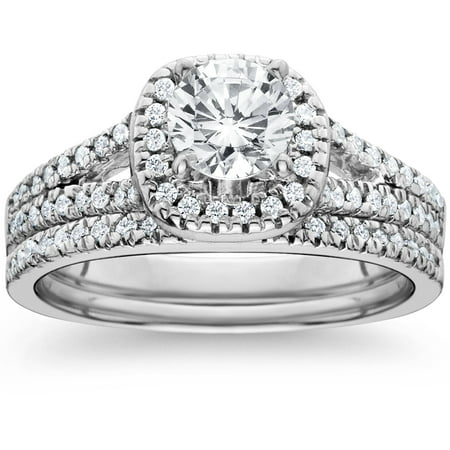 1 ct Cushion Halo Diamond Engagement Ring Set Split Shank Wedding 14K White (Split Shank Engagement Ring And Wedding Band)