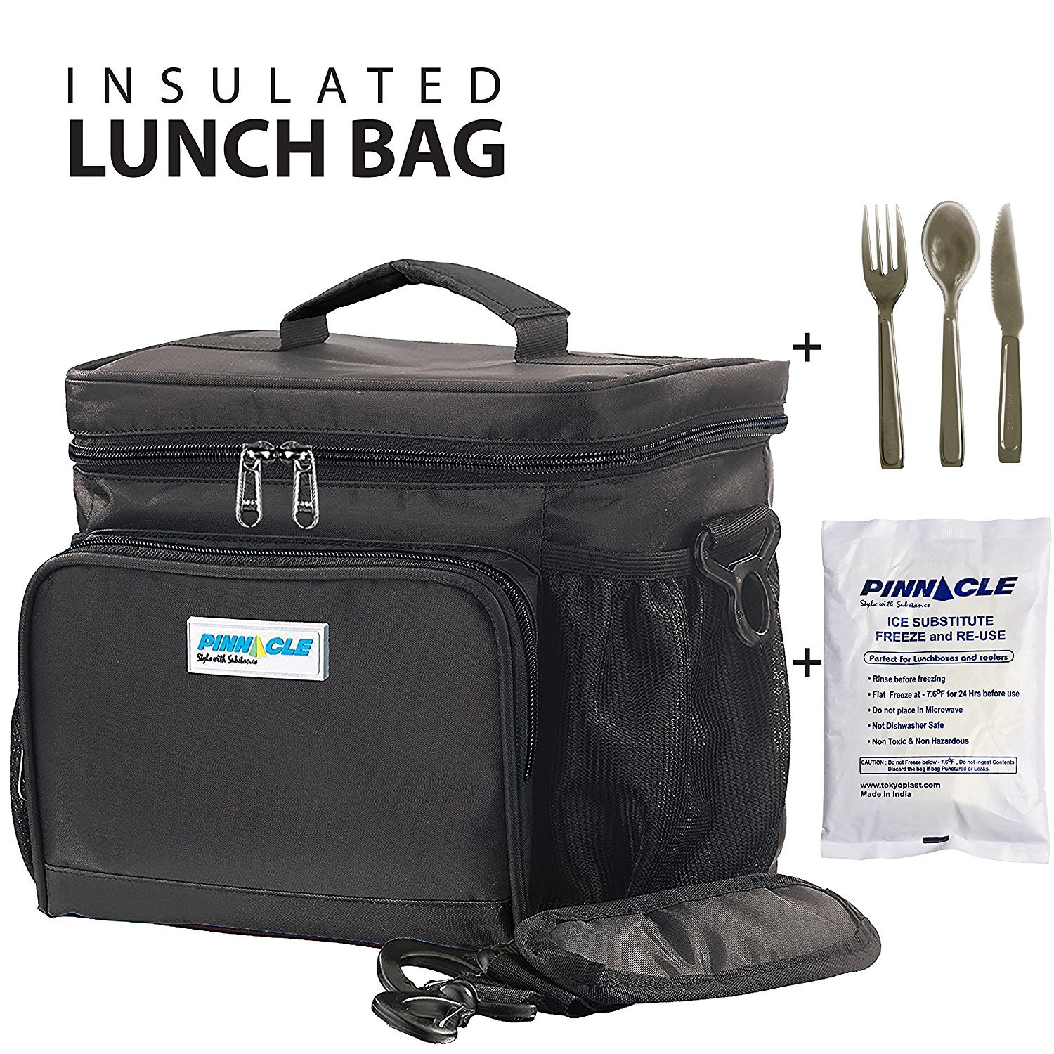 INSULATED LUNCH BAG KIT For Work - Pinnacle Cooler Bag for Adults, Ladies and Men + GEL ICE PACK and MATCHING CUTLERY - Durable Nylon, Double Zipper – Black