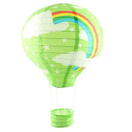 Paper Rainbow Pattern Lightless Hanging Decoration Hot Air Balloon Lantern Green for $<!---->