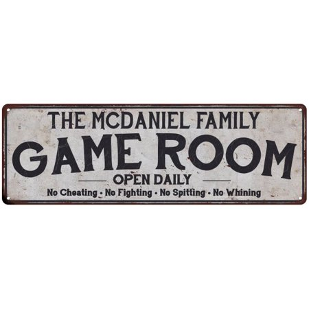 THE MCDANIEL FAMILY Game Room Country Look Gloss Metal Sign 6x18 Distressed Décor (Mcdaniel Metals)