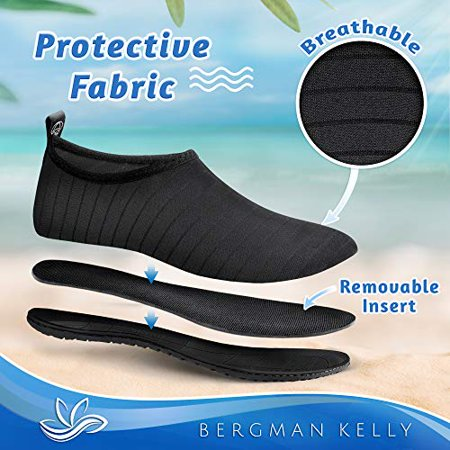 Bergman Kelly Mens and Womens Water Shoes / Aqua Socks / Barefoot Skin Shoes for Water Sports Beach Pool Yoga Surf (US Company)
