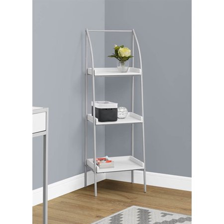 Bookcase in White and Silver Finish