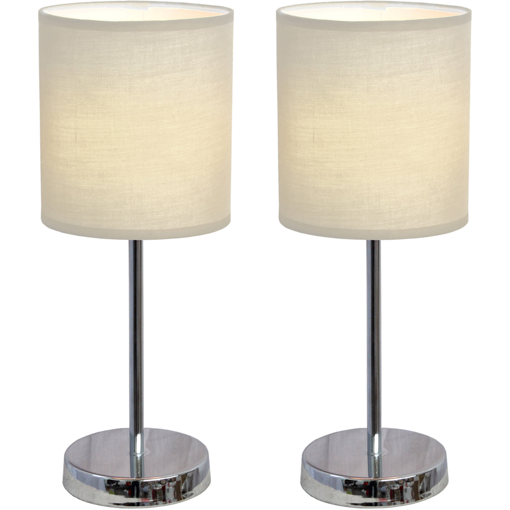 Simple lamps - Simple Designs Chrome Mini Basic Table Lamp With Fabric Shade 2 Pack Set Walmart Com