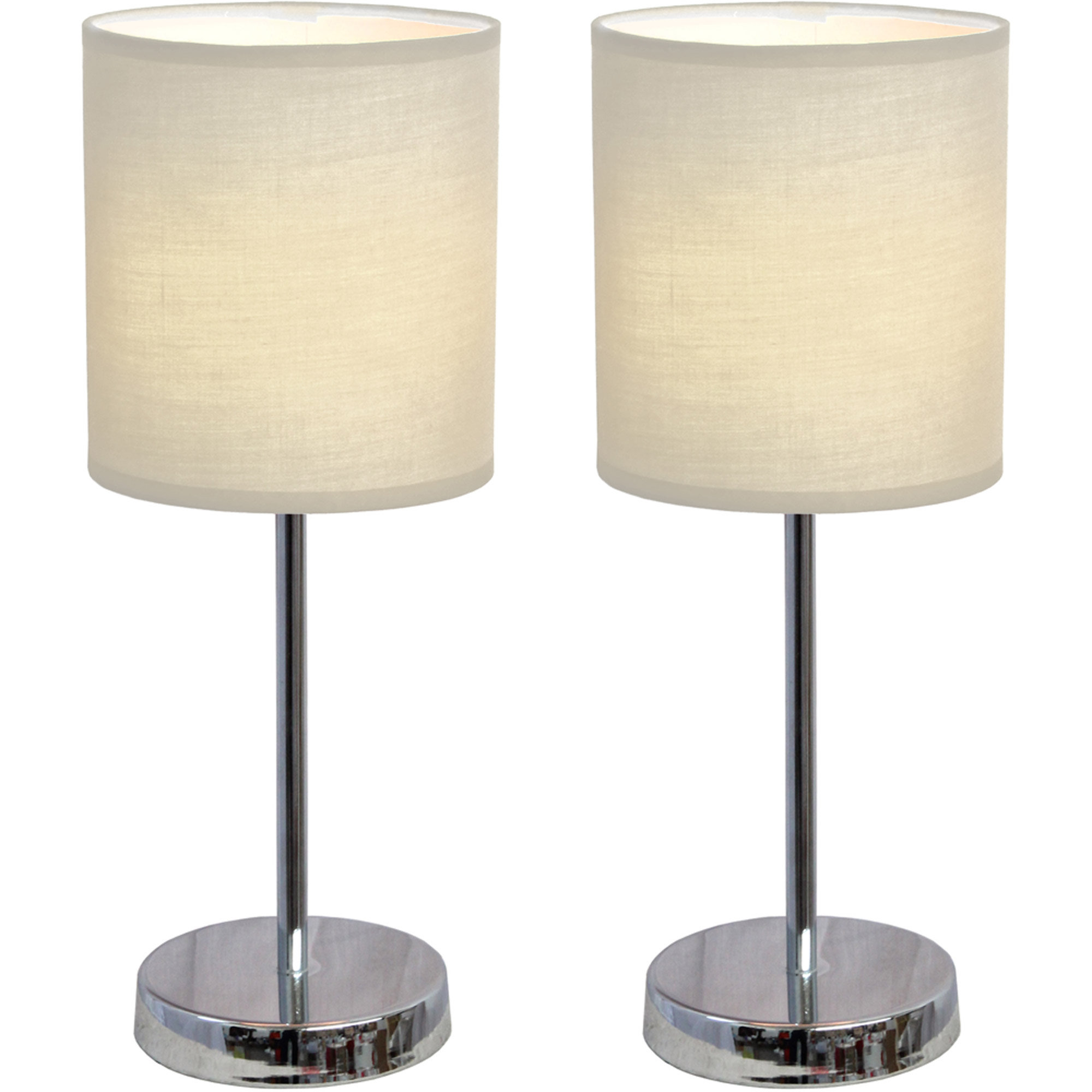 Walmart crafts and fabrics - Simple Designs Chrome Mini Basic Table Lamp With Fabric Shade 2 Pack Set Walmart Com