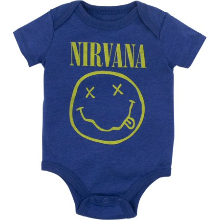 Nirvana Smiley Face Newborn Baby Boys' Rock Band Bodysuit, Heather Blue (6 Months)