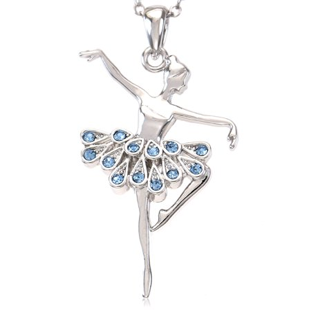 Soul Breeze Collection Aqua Blue Ballerina Ballet Dance Recital Necklace Pendant Chain Charm Rhinestones (Gold Szul Jewelry)