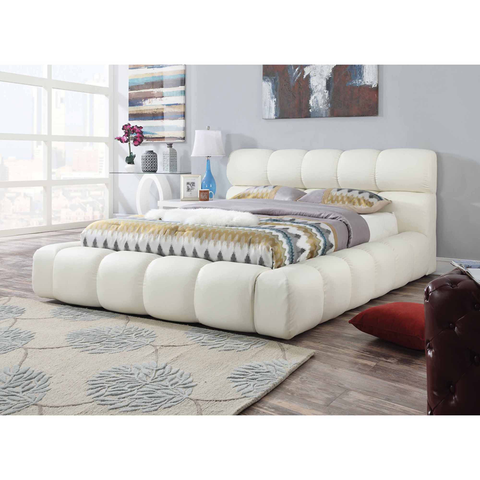 Acacia Ivory Pu Queen Bed Footboard (b by