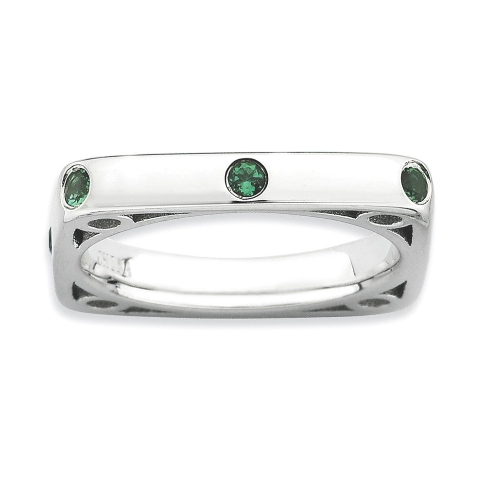 925 Sterling Silver Round Bezel Set Square Syn. Created Emerald Ring by gemaffair