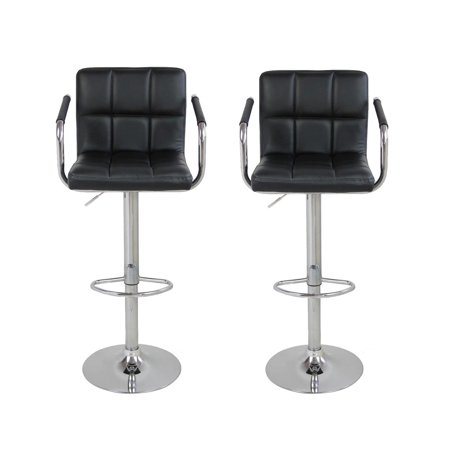 UBesGoo Furniture Direct Black Leather Adjustable Height Swivel Barstool Set with Armrest and Footrest (Set of 2) ()