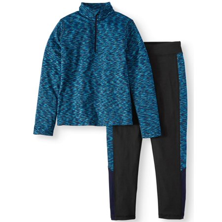 Rainbeau Moves Space Dye 1/4 Zip Pullover and Legging, 2-Piece Active Set (Little Girls & Big Girls)