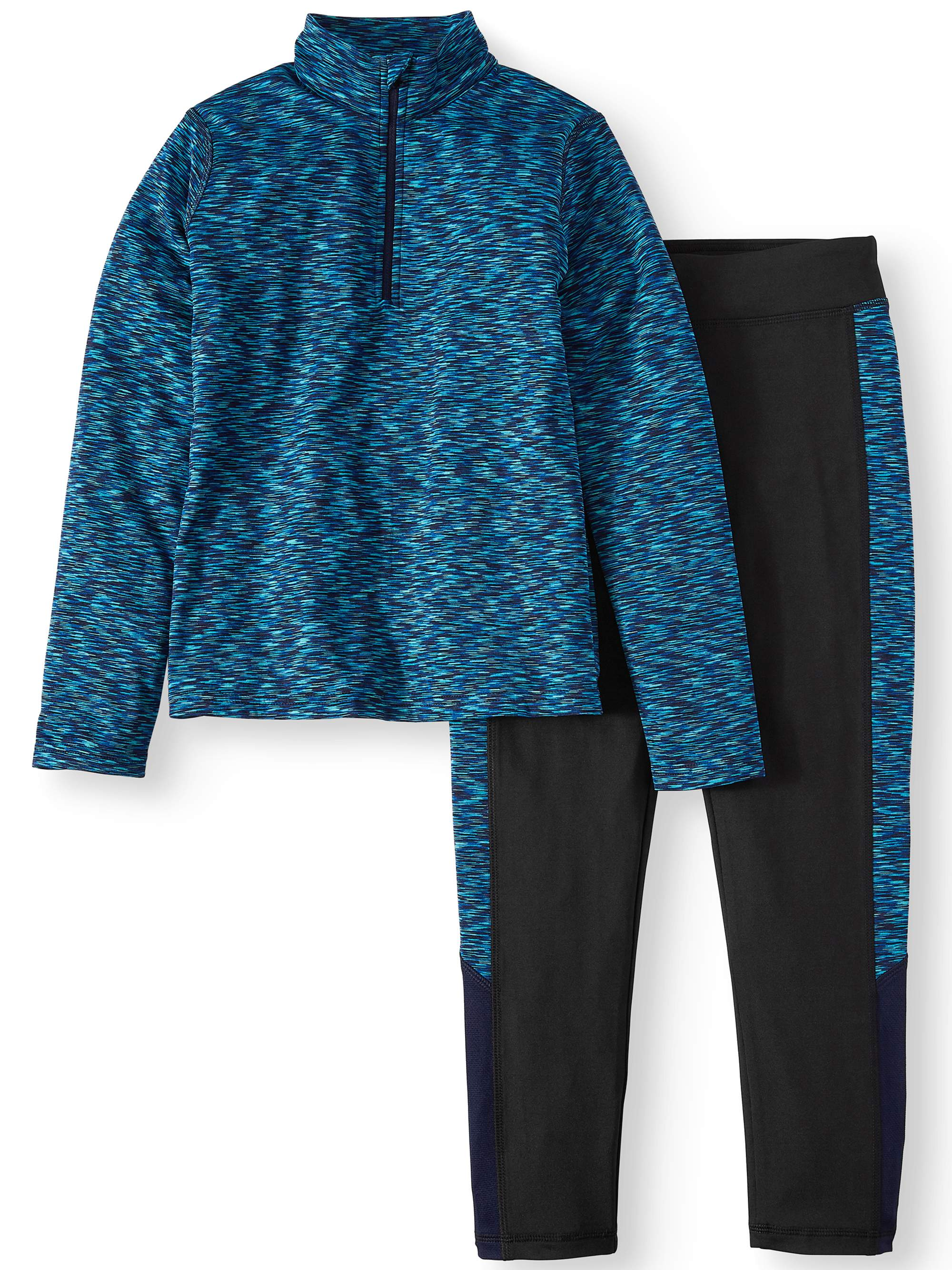 Rainbeau Moves Space Dye 1/4 Zip Pullover and Legging, 2-Piece Active Set (Little Girls & Big Girls)
