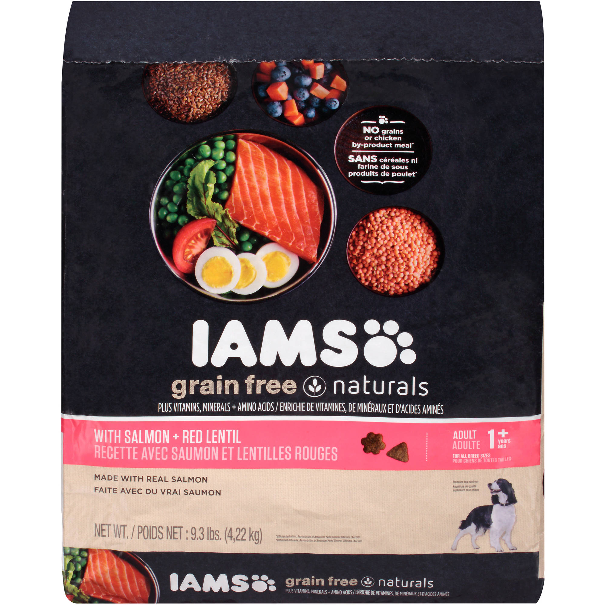 Iams Grain Free Naturals with Salmon + Red Lentil Adult 1+ Years Dog Food 9.3  lb. Bag