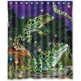 HelloDecor The Frogs Catch Fireflies At Night Shower Curtain Polyester Fabric Bathroom Decorative Curtain Size 60x72 Inches](Catch Fireflies)