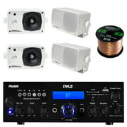 Pyle PDA6BU USB/SD-Card 200-Watt Bluetooth Stereo Amplifier Receiver, 4x Pyle 3.5'' 200 Watt 3-Way Weather Proof Mini Box Speaker System (White), Enrock Audio 16-Gauge 50 Foot Speaker Wire